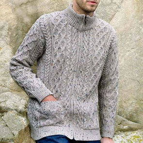 Aran Zip Cardigan with Pockets