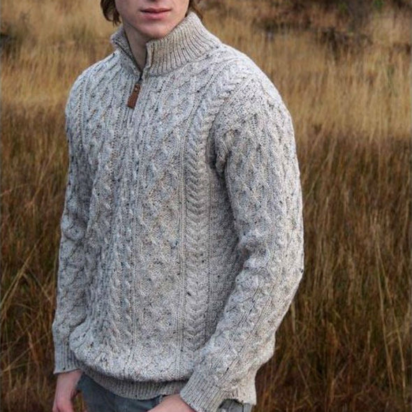 Half-Zip Aran Sweater