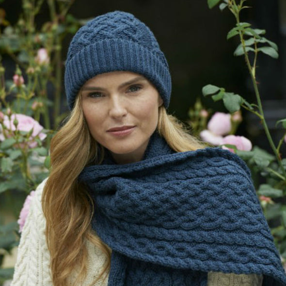 Blue Irish Merino Wool Trellis Knit Scarf