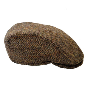 Harris Tweed Herringbone Flat Cap | Tan