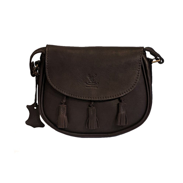 Handmade Leather Rounded Cross-body Purse with Tassels