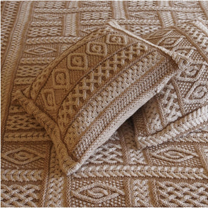 Beige Irish Merino Wool Throw Blanket with a Variety of Decorative Stitches