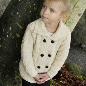 Girl's Aran Cardigan Coat