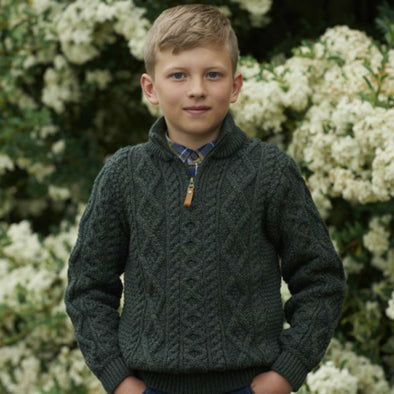 Kids' Half-Zip Aran Sweater