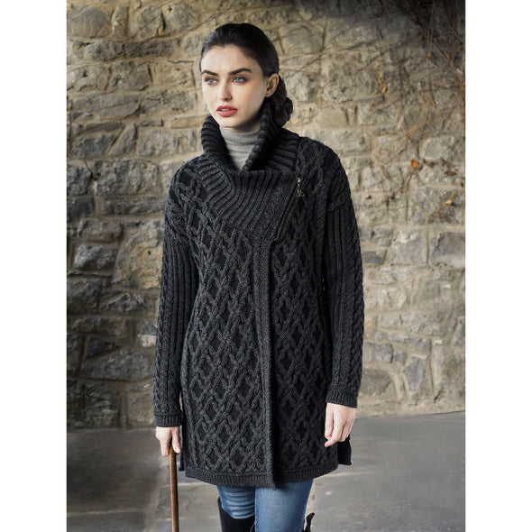 Side-Zip High Collar Aran Sweater Coat