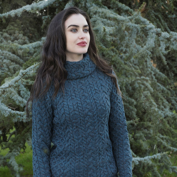Cable Knit Cowl Neck Aran Sweater