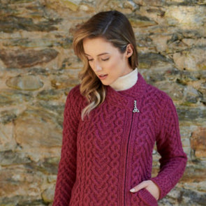 Side-Zip Heart Knit Aran Cardigan