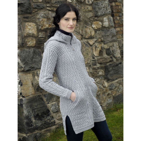 Aran Zip Cardigan Coat with Hood