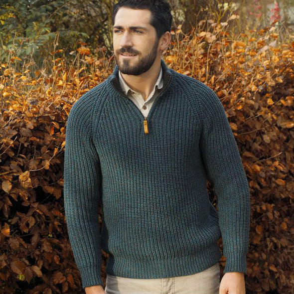 Fisherman's Ribbed 1/4 Zip Aran Sweater