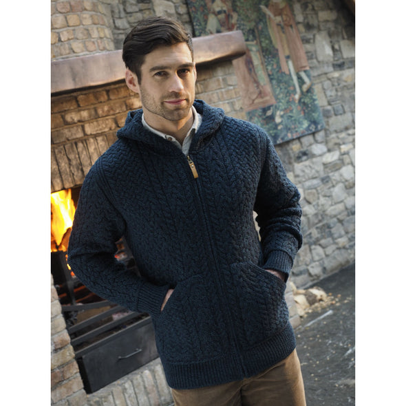 Men's Hooded Aran Zip Cardigan