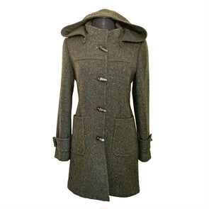 Donegal Tweed Duffle Coat with Hood | Olive