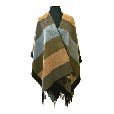 Color Blocks Ruana with Tassels | Olive & Yellow
