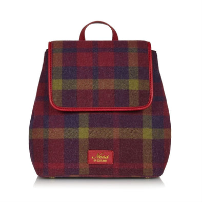 Purple, Pink & Olive Green Plaid Tweed Backpack