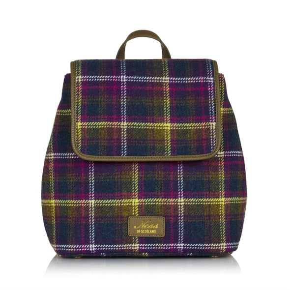 Purple, Olive Green & White Tweed Plaid Backpack