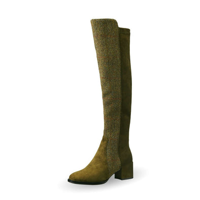 Olive Green Harris Tweed Tall Boots