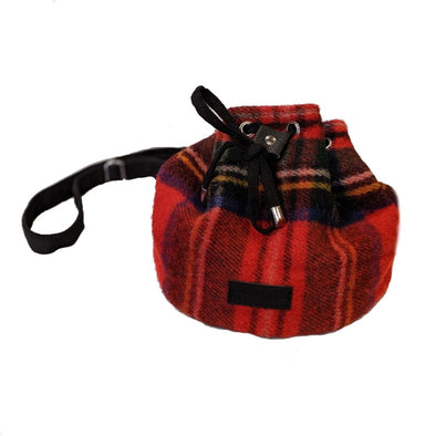 Drawstring Tartan Bucket Bag