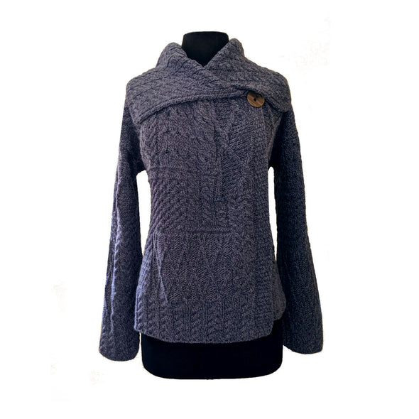 One-Button Patchwork Aran Cardigan