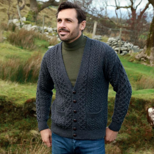 Aran V-Neck Button Cardigan