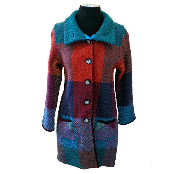 Emma Irish Herringbone Wool Blend Coat