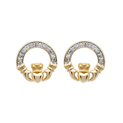 Gold & Diamond Claddagh Stud Earrings