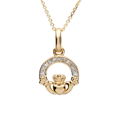 Gold & Diamond Claddagh Pendant