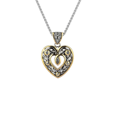 Heart Pendant | Sterling Silver, 10k Yellow Gold & CZ