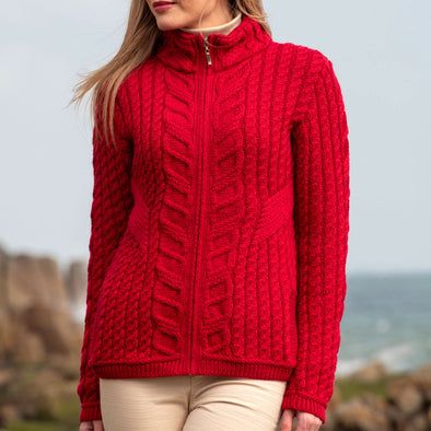 Aran Zip Cardigan with Side Detail