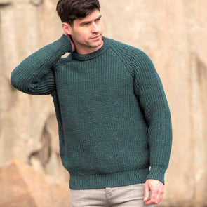 Fisherman Ribbed Crew Neck Sweater