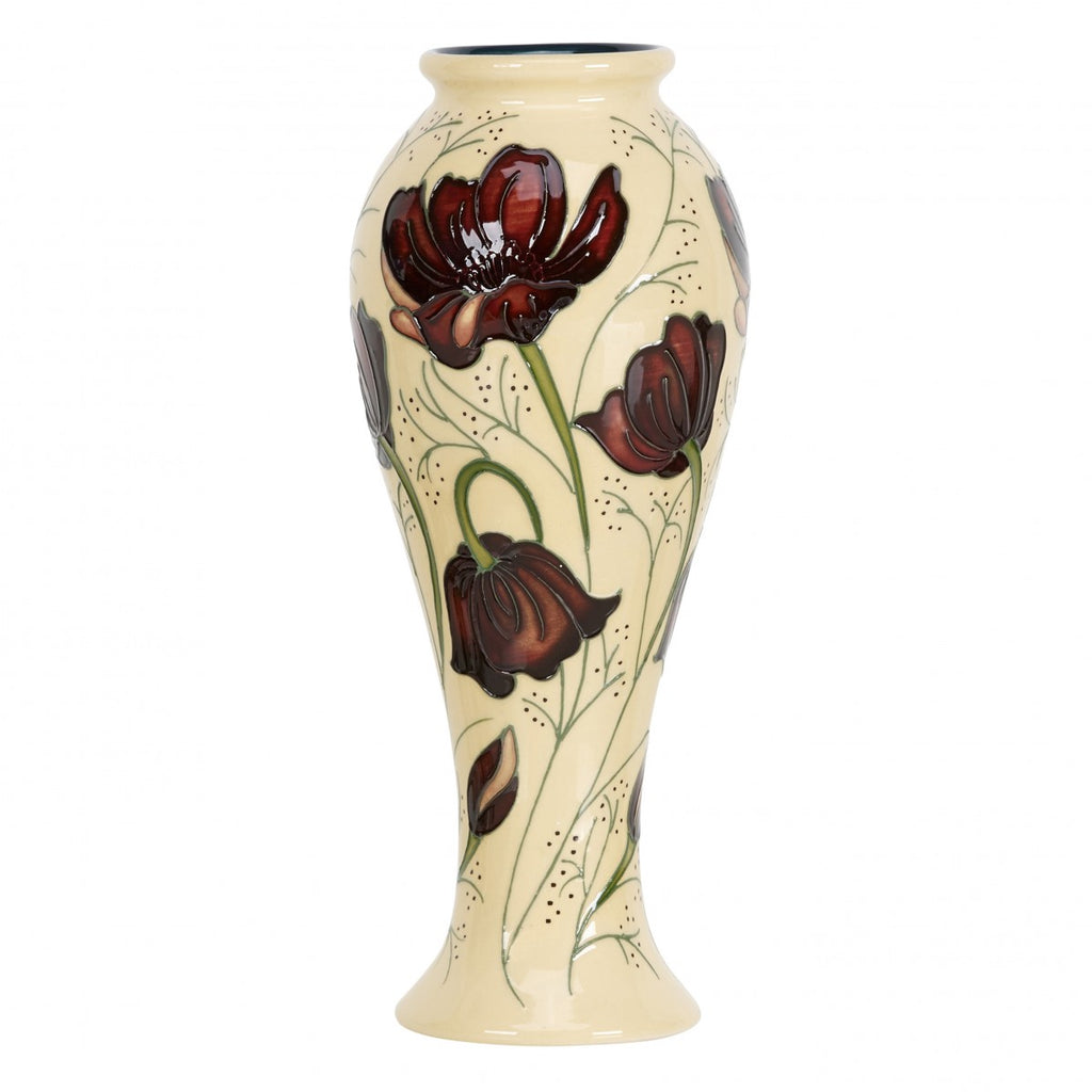 cream colored, tall, narrow vase with brown flowers, by Moorcroft Pottery