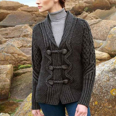 women's Merino wool double-breasted plated button cardigan in charcoal grey