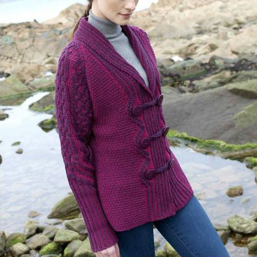 women's Merino wool double-breasted plated button cardigan in magenta / fuchsia