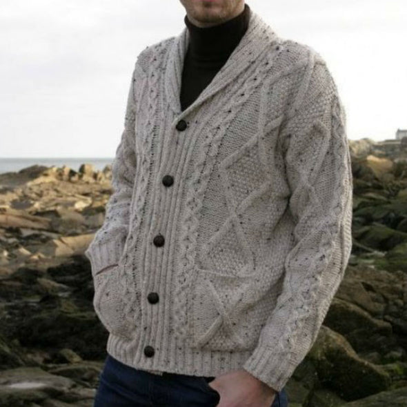 Beige Irish Merino Wool Shawl Collar Cardigan