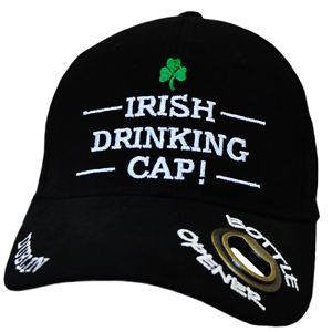 "black baseball cap with ""Irish Drinking Cap!"" on the front, plus a bottle opener on the bill"