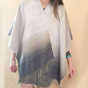 grey & beige shawl with tassles