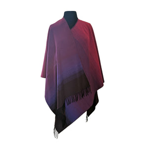 Gradient Ruana with Tassels | Fuchsia