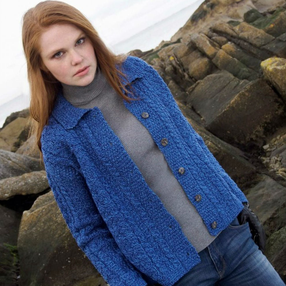 Merino Wool Collared Aran Cardigan in Blue Marl