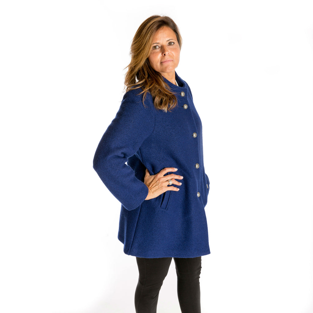 """A-Line"" Boiled Wool Car Coat in Indigo from Geiger of Austria"