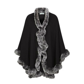 black wool & cashmere blend cape with rabbit fur trim