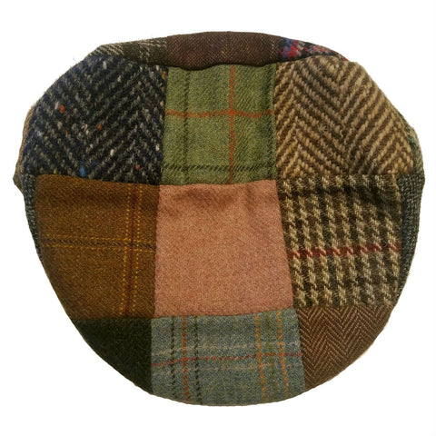 Patchwork Driving Cap in Wool from Hanna Hats of Ireland — [ Unique Patchwork Options ]
