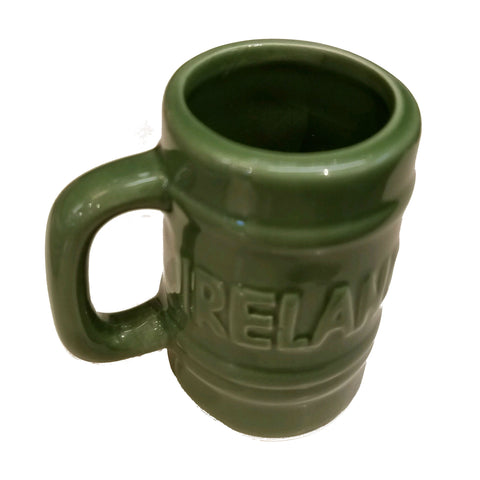 "green ceramic ""Ireland"" shotglass with handle"