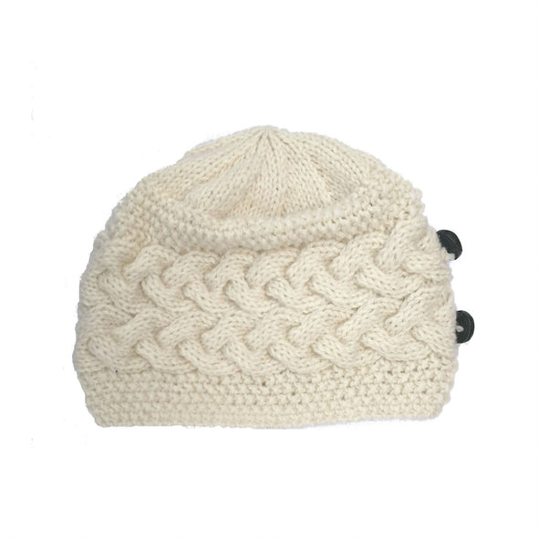 handmade 100% Merino wool cable knit hat for women in cream color