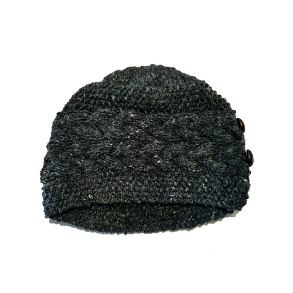 handmade 100% Merino wool cable knit hat for women in charcoal grey