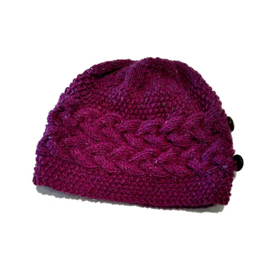 handmade 100% Merino wool cable knit hat for women in fuchsia