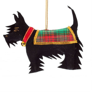 Scottish terrier Christmas ornament with tartan coat