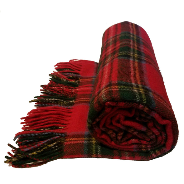 red tartan plaid wool blanket, Royal Stewart tartan