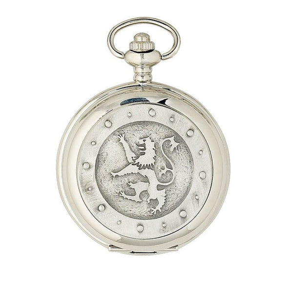 Lion Rampant Mechanical Pocket Watch | Antique Chrome Finish