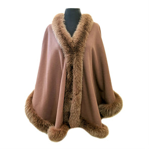 Wool & Cashmere Cape with Fox Trim