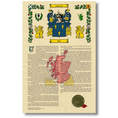 Parchment Paper with Surname History, Coat of Arms, a Seal and Ribbon