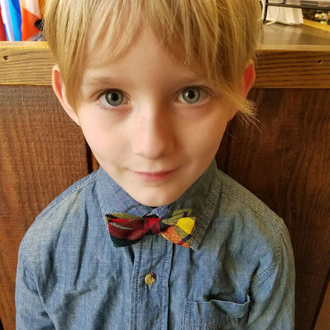 boy with plaid bowtie in the Buchanan modern tartan