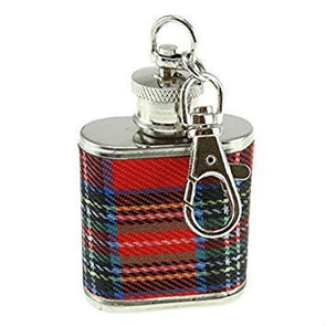 red tartan plaid key ring flask, Royal Stewart